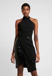 WAL G. - LAYERED HALTER KNECK DRESS - Denní šaty - black - 0