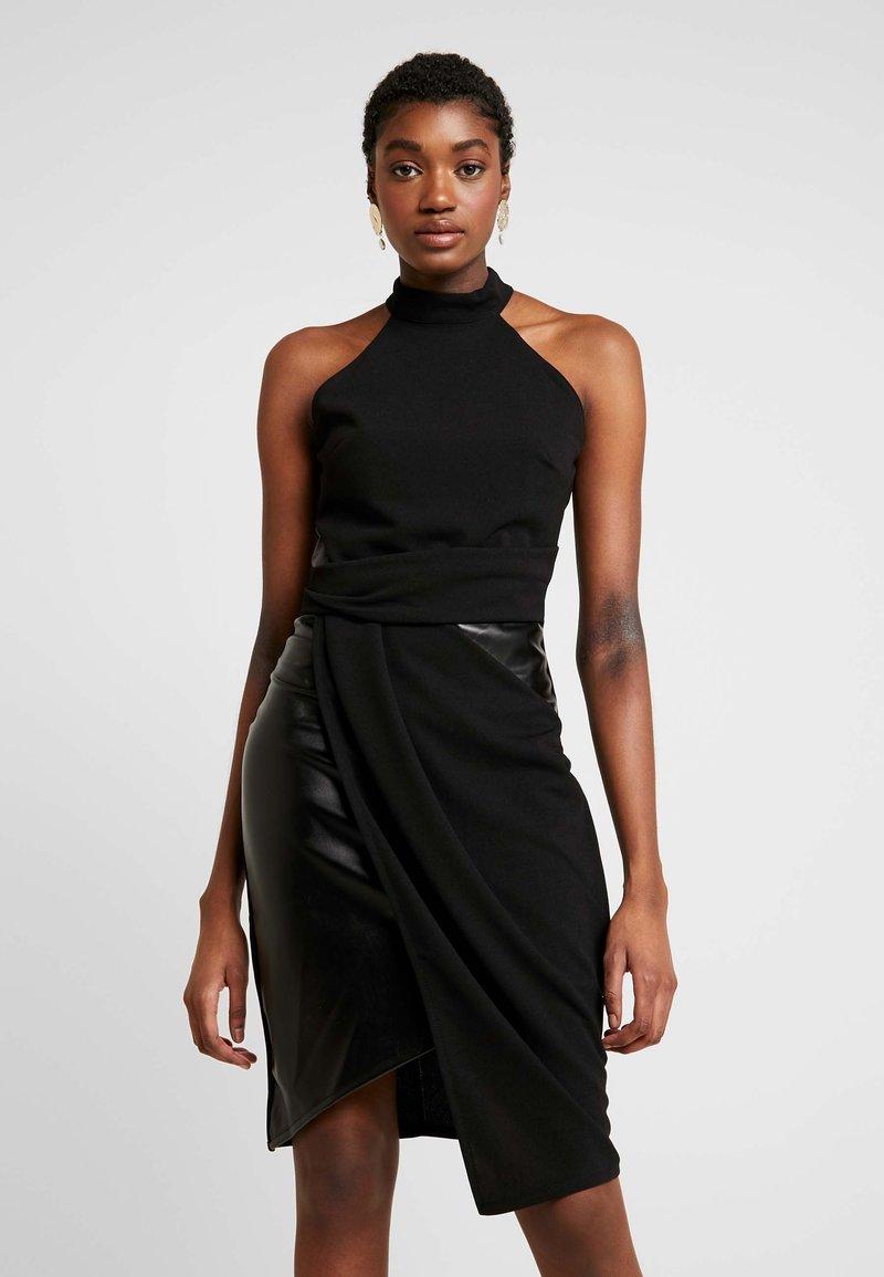 WAL G. - LAYERED HALTER KNECK DRESS - Denní šaty - black