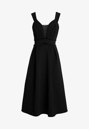 SHOULDER LAYERED MIDI DRESS - Cocktail dress / Party dress - black