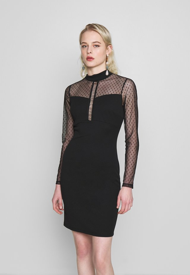 LONG SLEEVE DETAILED DRESS - Pouzdrové šaty - black