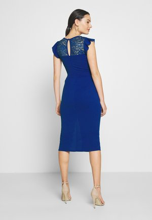 FRILL SLEEVE V PLUNGE NECK DRESS - Juhlamekko - cobalt blue