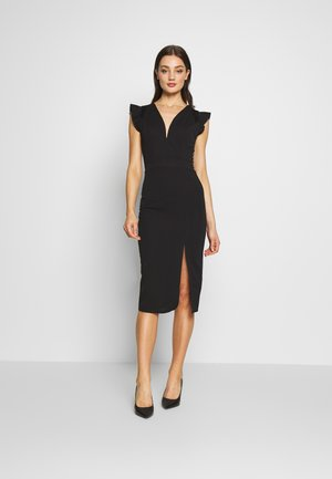 FRILL SLEEVE V PLUNGE NECK DRESS - Koktejlové šaty / šaty na párty - black