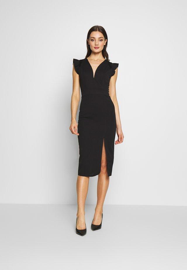 FRILL SLEEVE V PLUNGE NECK DRESS - Vestido de cóctel - black