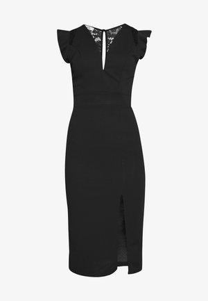 FRILL SLEEVE V PLUNGE NECK DRESS - Cocktailjurk - black