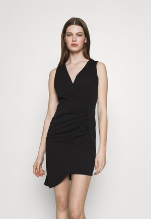 OVERLAY SKIRT DRESS - Shift dress - black