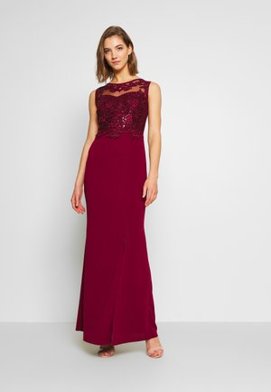 LAYERED MAXI DRESS - Suknia balowa - wine