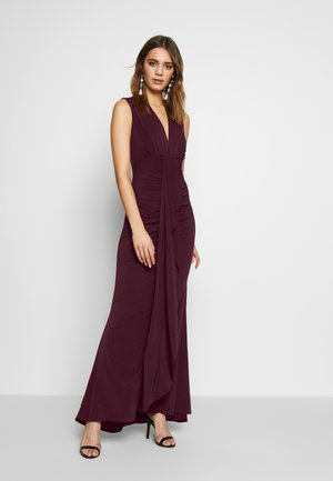 PLUNGE TIE DRAPE MAXI DRESS - Robe de cocktail - plum