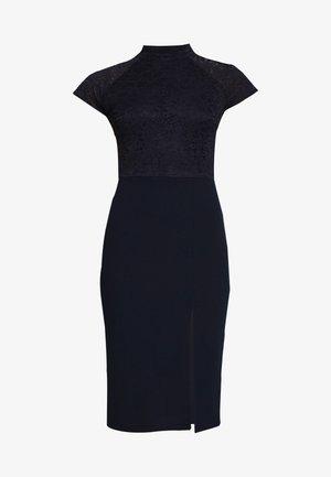 HIGH NECK MIDI DRESS - Pouzdrové šaty - navy blue