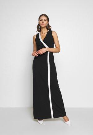 WRAP OVER MAXI DRESS - Vestito lungo - black/white