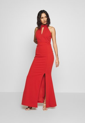 HALTER NECK WITH SPLIT - Robe longue - rust