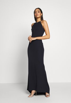 HIGH NECK MAXI WITH TRAIL - Abito da sera - navy blue