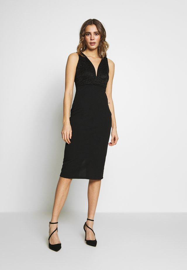 V NECK MIDI DRESS - Cocktailjurk - black