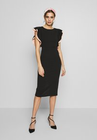 WAL G. - MIDI DRESS - Cocktail dress / Party dress - black/salmon - 1