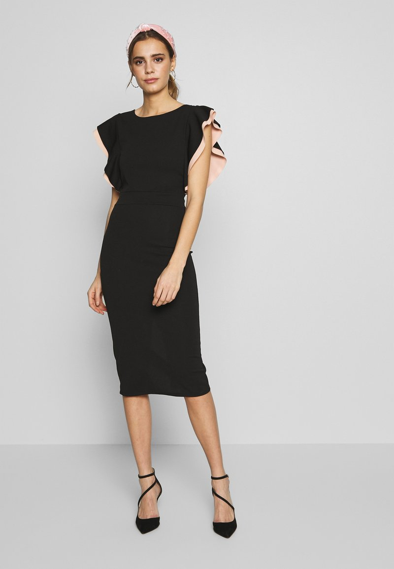 WAL G. - MIDI DRESS - Cocktail dress / Party dress - black/salmon