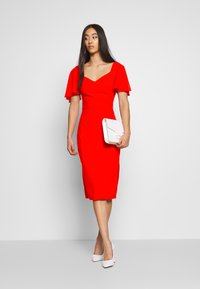 WAL G. - FLUTTER CAP SLEEVE MIDI DRESS - Vestito elegante - red - 1