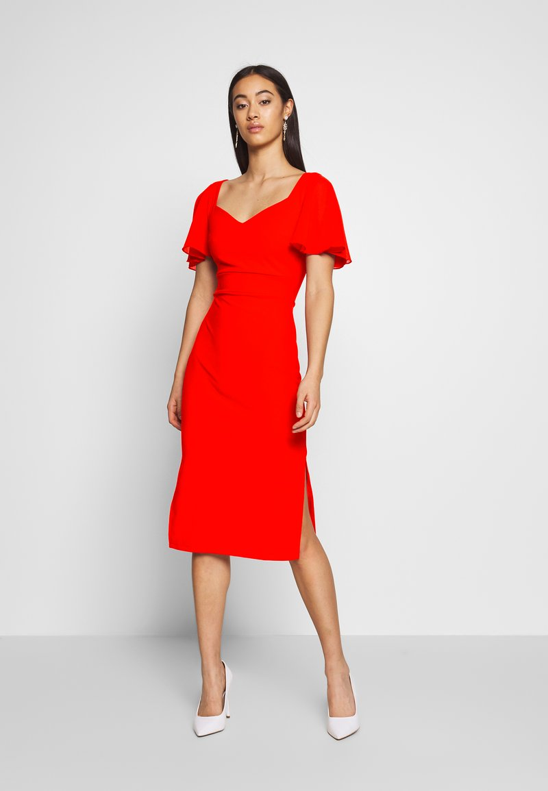 WAL G. - FLUTTER CAP SLEEVE MIDI DRESS - Vestito elegante - red