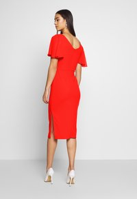WAL G. - FLUTTER CAP SLEEVE MIDI DRESS - Vestito elegante - red - 2
