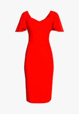 FLUTTER CAP SLEEVE MIDI DRESS - Koktejlové šaty/ šaty na párty - red