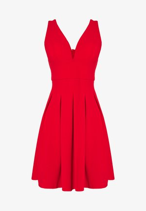 PLEATED SKATER DRESS - Jersey dress - red