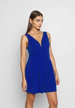 PLEATED SKATER DRESS - Vestito di maglina - cobalt blue