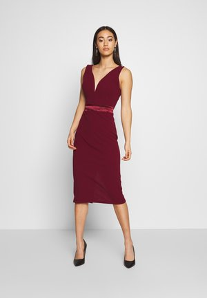 TIE DETAIL MIDI DRESS - Vestido de cóctel - wine