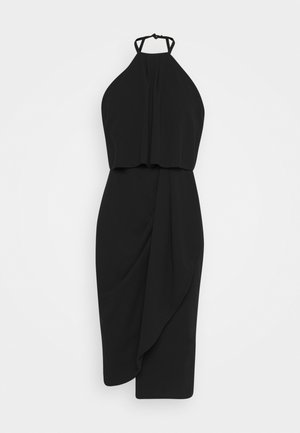 HALTER KNECK FITTED MIDI DRESS - Vestito di maglina - black