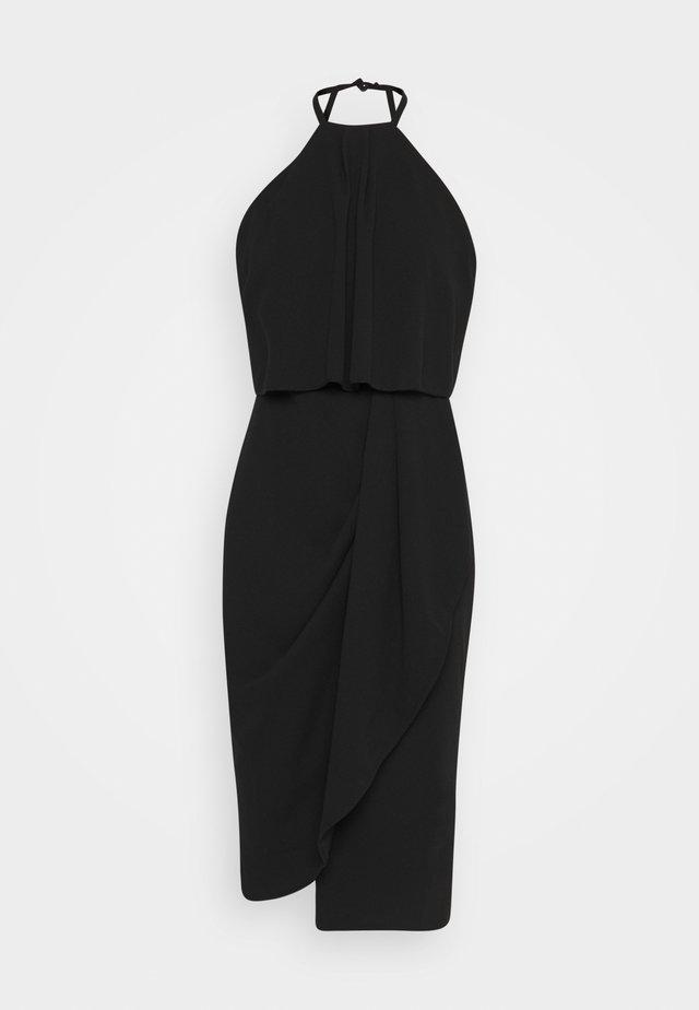 HALTER KNECK FITTED MIDI DRESS - Jersey dress - black