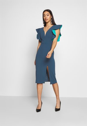 V NECK RUFFLE SLEEVE MIDI DRESS - Vestido de cóctel - teal