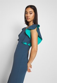 WAL G. - V NECK RUFFLE SLEEVE MIDI DRESS - Sukienka koktajlowa - teal - 3