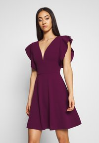 WAL G. - RUFFLE SLEEVE MINI DRESS - Cocktail dress / Party dress - plum - 2