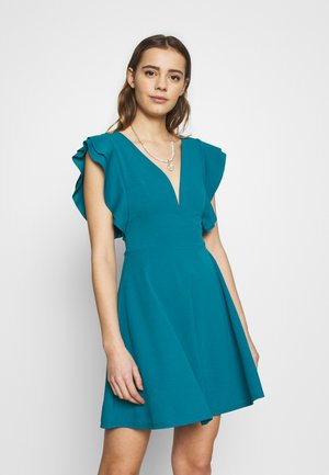 RUFFLE SLEEVE MINI DRESS - Vestido de cóctel - teal