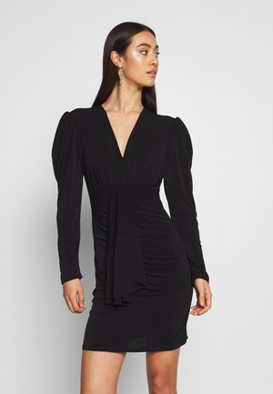 LONG SLEEVE MINI DRESS - Vestido de cóctel - black