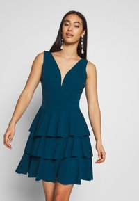 WAL G. - LAYERED MINI DRES - Cocktail dress / Party dress - teal blue - 0