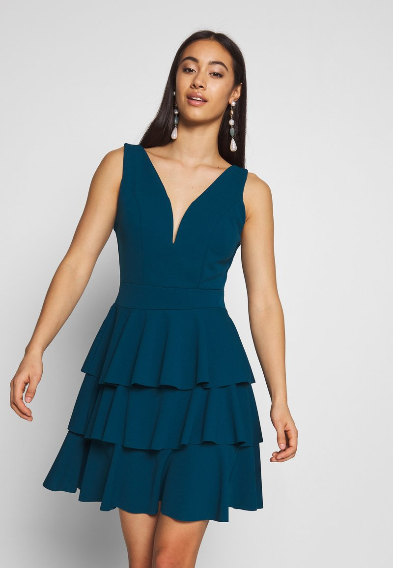 WAL G. - LAYERED MINI DRES - Cocktail dress / Party dress - teal blue