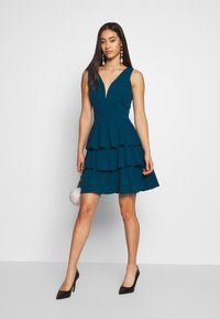WAL G. - LAYERED MINI DRES - Cocktail dress / Party dress - teal blue - 1