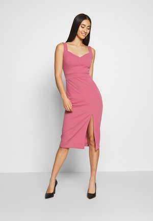 DIAMOND NECK MIDI DRESS - Jerseyjurk - dusty pink
