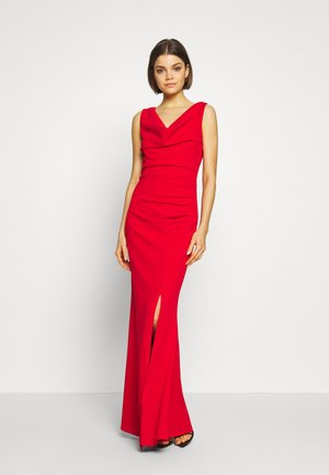 COWELL NECK MAXI DRESS WITH SLIT - Vestido de fiesta - red