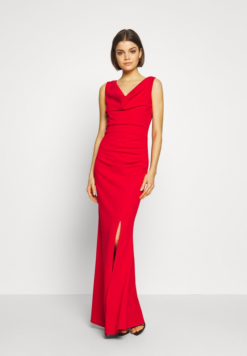 WAL G. - COWELL NECK MAXI DRESS WITH SLIT - Suknia balowa - red