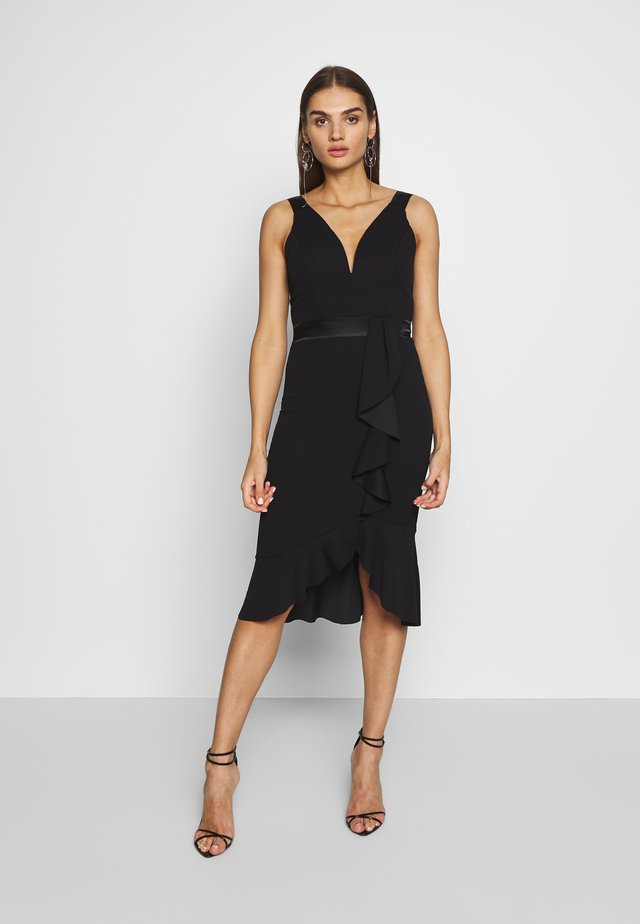 V NECK RUFFLE MIDI DRESS - Vestito elegante - black