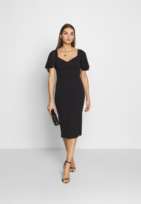 WAL G. - FLUTTER CAP SLEEVE MIDI DRESS - Cocktail dress / Party dress - black - 1
