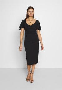 WAL G. - FLUTTER CAP SLEEVE MIDI DRESS - Cocktail dress / Party dress - black - 0