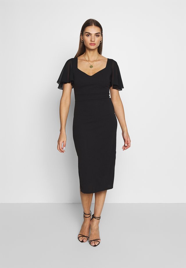 FLUTTER CAP SLEEVE MIDI DRESS - Juhlamekko - black
