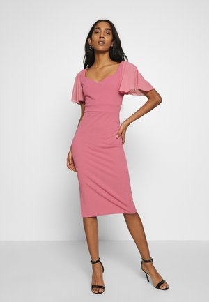 FLUTTER CAP SLEEVE MIDI DRESS - Cocktailjurk - mellow rose