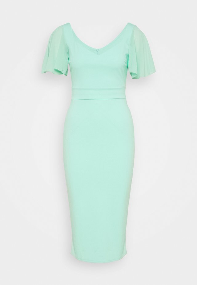 FLUTTER CAP SLEEVE MIDI DRESS - Cocktailjurk - mint
