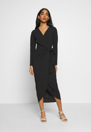 WRAP DRESS - Vestito di maglina - black
