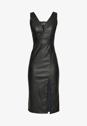 LEATHER LOOK MIDI DRESS - Vestido de tubo - black