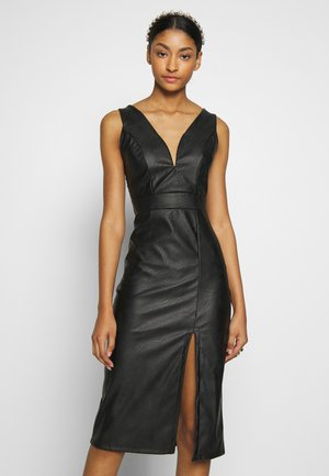 LEATHER LOOK MIDI DRESS - Etuikleid - black