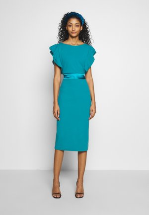 BAND FILL SLEEVE MIDI DRESS - Cocktailjurk - teal blue