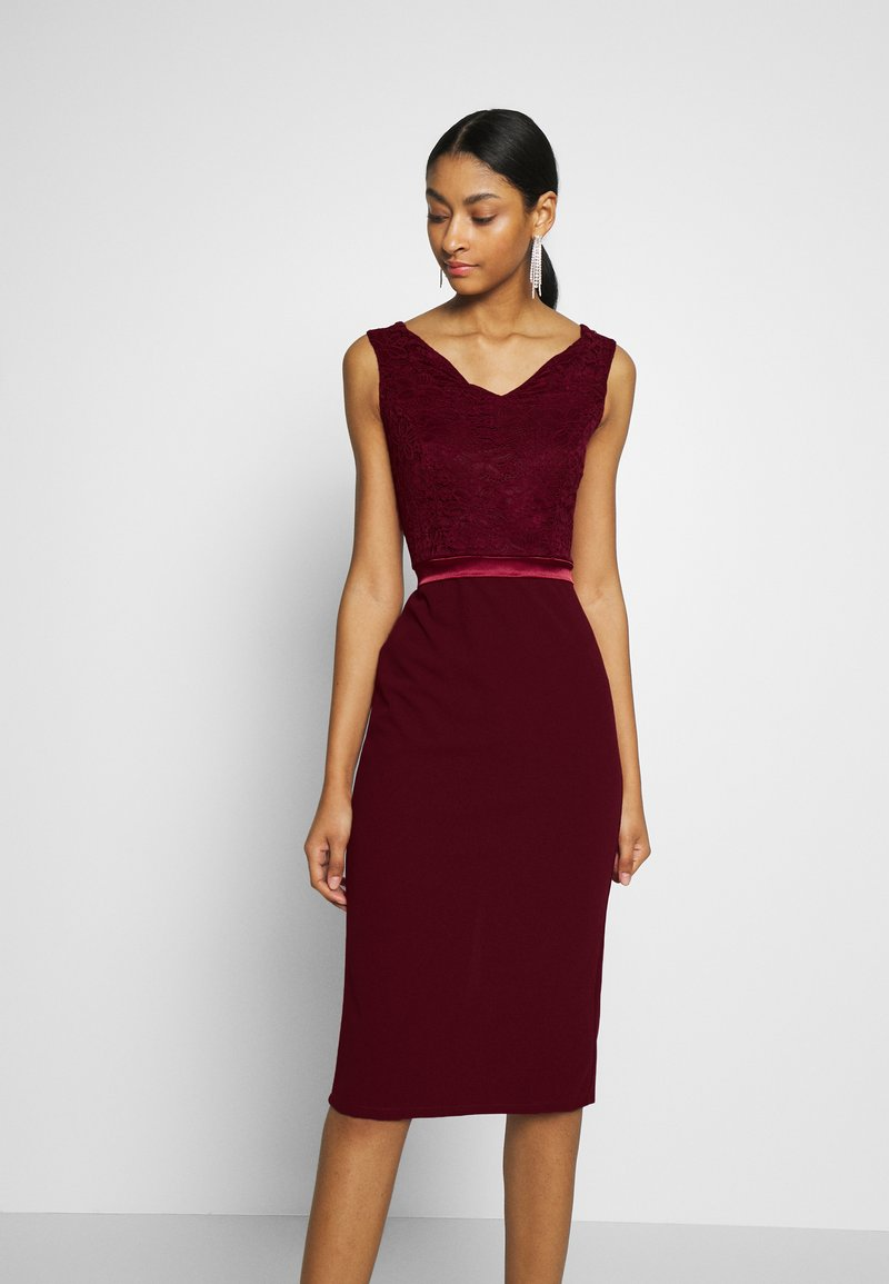 WAL G. - BARDOT BAND MIDI DRESS - Cocktailklänning - wine