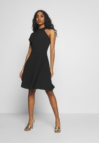 WAL G. - RUFFLE NECK SKATER DRESS - Cocktail dress / Party dress - black - 1